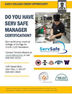 Image of flier for College Credit offered at College of DuPage for Serv Safe Management Certification Course