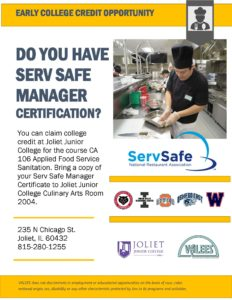 Flier Describint the process to claim college credit for the Serv Safe Manager Certification course at Joliet Junior College